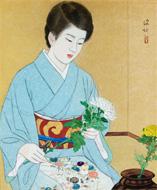 伊東深水「花を活ける麗人」55.0×46.1㎝