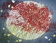 市場良子染色展 「朱い華」 78×98cm