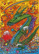 石川茂「赤富士と龍神」4F キャンバス、アクリル