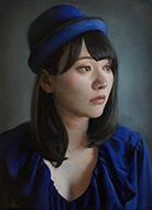 岩本将弥「青い帽子の女性」4F キャンバス、油彩