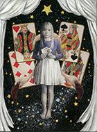 遅野井梨絵「トランプゲーム」8P キャンバス、アクリル、金泊、粘土