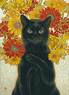 小熊サトイ「黒猫」4F キャンバス、アクリル