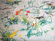 北川安希子「游泳-モネの池」8P 和紙、岩絵具、水干絵具