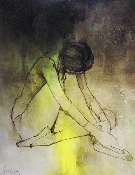 「休息するバレリーナ」 30号 油彩