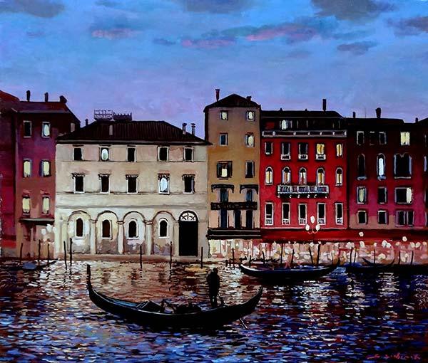 吉本哲 河畔の灯(ヴェネチア)F10