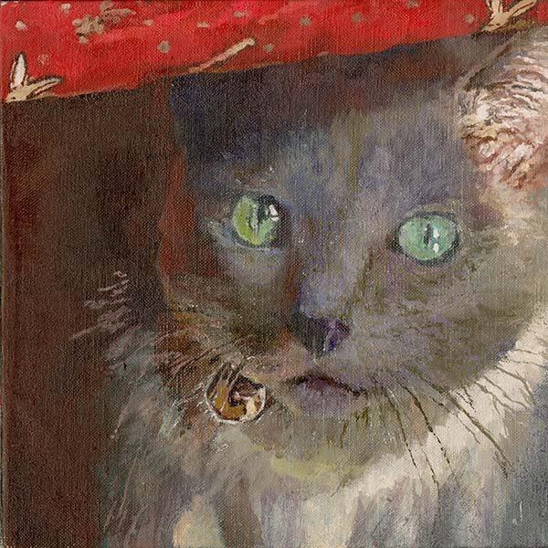 権守ひかる 「猫のいる時間」 S0 油絵具、アルキド樹脂絵絵具、キャンバス
