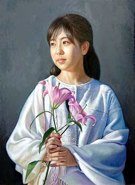 星野典子 「桃色のゆり」 P8 油彩