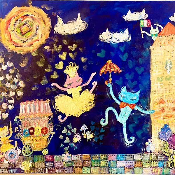 松本アミカ 「猫イタリア ワンダーランド♪」 F10号 キャンバス、油絵