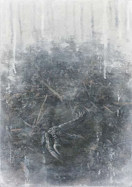 宮崎和彦 「境界」 29.7×42.0cm 技法:木製パネル、アクリル、油彩