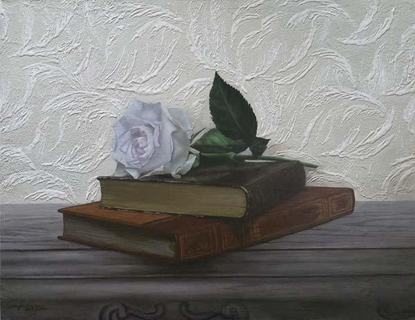 中里仁美 「白薔薇の物語」 F6号 パネル、画布、石膏 下地にアクリル