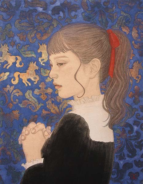 八木恵子 「夢見るユニコーン」 F6号 麻紙、墨、岩絵の具・銀箔
