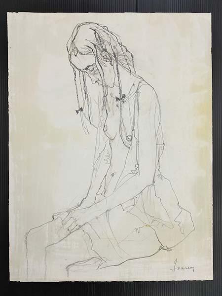ジャン・ジャンセン 「うつむく女性」 紙に鉛筆・水彩 66×50.2cm