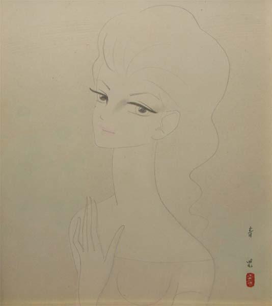 東郷青児 「少女」 3号 水彩色紙