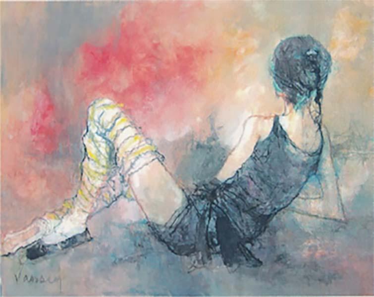 ジャン・ジャンセン 「肘をつき休息する踊り子」 30号