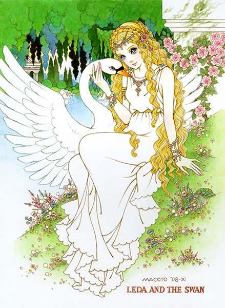 高橋真琴 「レダと白鳥」 95×77.5cm