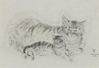 藤田嗣治「親子猫」26.7×37.3cm