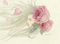 「少女 風とバラ」