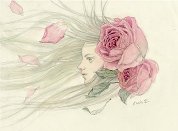 『少女 風とバラ』