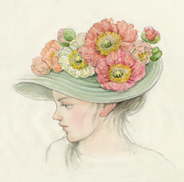 『少女 帽子』