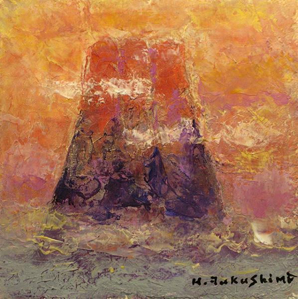 「赤富士」  14.5×14.5cm