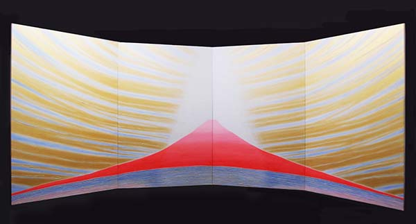 「CURRENT B-104 宇宙の愛の降臨」 175cmx112cmx4枚組(屏風画)