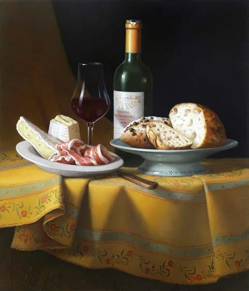 「ワインと黄色い布の静物」 10F