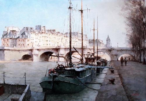 『セーヌ川と舟』 15M