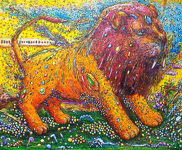 『愛と平和の種子を蒔くライオン』 8F