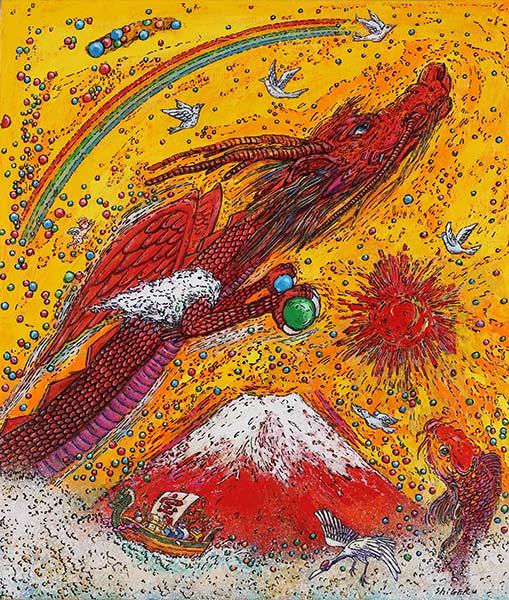 「龍神と赤富士」 F10号 キャンバス・アクリル絵の具