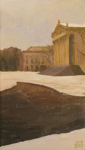 『雪の朝、広場にて』  4M