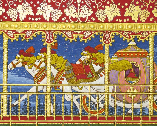 「夜空を駆ける3頭の馬と馬車」 F3