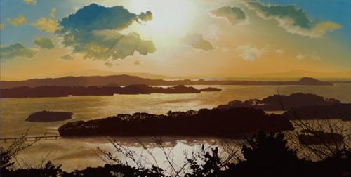 『島影と雲影』  40×80cm