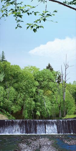 「夏の川音」  80x40cm
