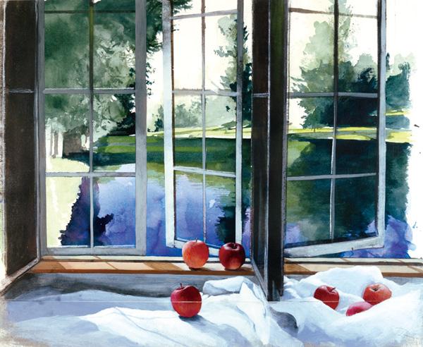 「朝の窓辺」  44×53.5cm 水彩