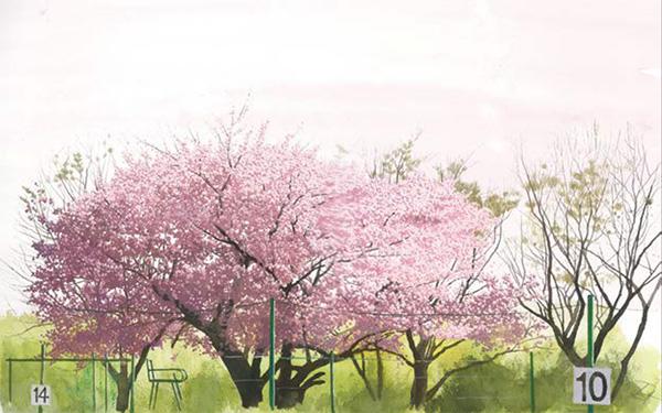 『春の庭球』  (水彩)26.0×41.0cm
