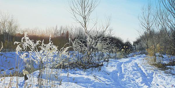 「朝まだき氷の華」  45×90cm