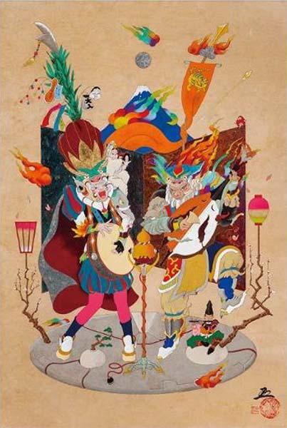 「楽師・四人囃子」 12M 和紙にアクリルガッシュ・岩絵具・墨・箔