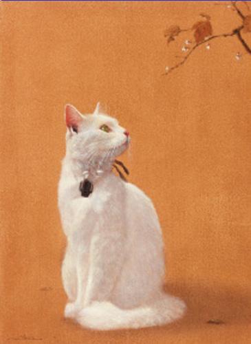 『秋桜白猫図』  F4