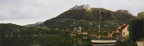 『朝陽 アヌシー湖』  23.7×72.7cm