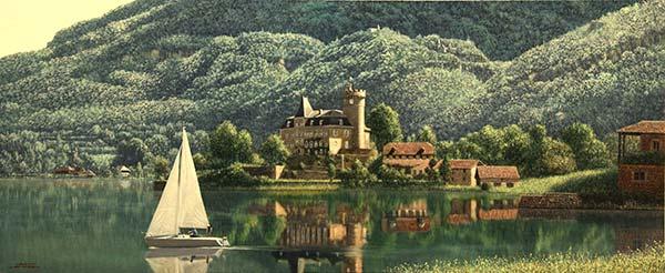「古城のほとり アヌシー湖」 72,3×30,2cm