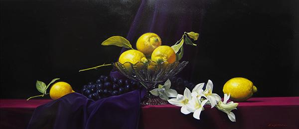 『檸檬、葡萄、蘭』 40.1×90.9cm