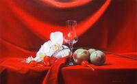 「赤い布のある静物」 10M