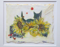 「Flower cat」 ミクストメディア 23×20cm