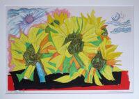「歌舞く花達」 木版画 46×32cm