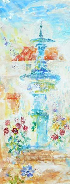 「噴水に花」 91.0×35.0cm