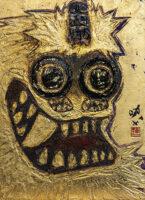 「山ノ神様ノ図 -金獅子-」 F4 漆、岩絵具、和紙、金箔