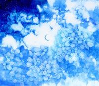 「空の深度ーアオイサクラー月」 10F (455×530mm) ミクストメディア