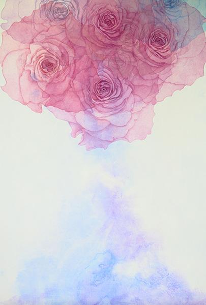 「ふるえる花冠」  F40号 ミクストメディア
